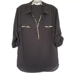 Calvin Klein leopard trim blouse